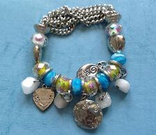 bracelet charm look crystal rhinestone bead blue silver stretch!