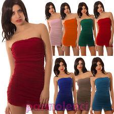 Top Miniabito vestitino donna bustino bandeau abito tubo fascia velato AS-4242