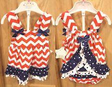 Nursery Rhyme 2pc Infant Girl Chevron/Polka Dot Ruffle Dress Set, 6M - $30