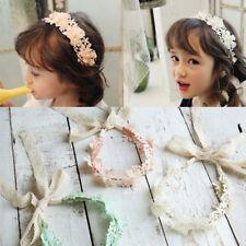 Chica diadema de encaje largo cinta de flores diadema niños accesorios de pelo,