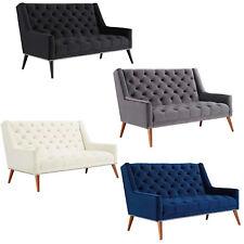 VELVET LOVE SEAT BANQUETTE ANTIQUE NICKEL NAILHEAD TRIM BLACK, GRAY, IVORY, BLUE
