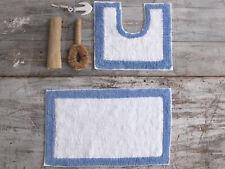 2 Piece 100% Cotton Non Slip Bath Mat and Pedestal Set in Various Colours
