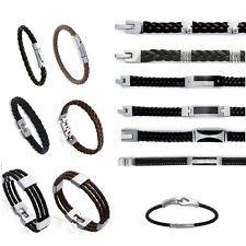 Bracelet en ACIER & CUIR pour HOMMES ou ADOS NEUF 14  MODELES Au CHOIX