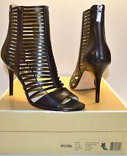 New $195 Michael Kors Odelia Bootie Lazer Cut Black Leather Heel Open Toe Sandal