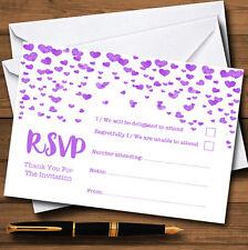Corazón púrpura Confeti personalizado de tarjetas de RSVP