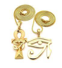 Egyptian Ankh Cross +  Illuminati Horus Eye Pendant Charm Chain Necklace Jewelry