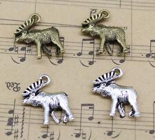 Elk Moose Deer Alloy Charm Pendants DIY Jewelry Making 18x17mm
