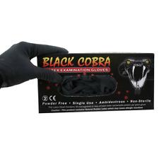 Black Cobra Latex Gloves - x 100 - Tattoo Gloves - Powder Free - Various Sizes