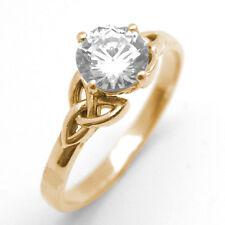 Trinity Knot Ring 1ct Diamond Unique 9ct Gold White Yellow Rose UK Hallmarked