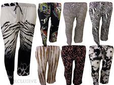 Ladies Plus Size Multi Print Wide Leg Parallel Bottom Palazzo Trousers Pants