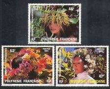 Polinesia FRANCESE 1984 Floreale Copricapo/Cappelli/Fiori/NATURA SET 3v (n37477)