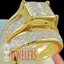 Real 10K Yellow Gold Silver 2 Rings Bridal Set Wedding Engagement Simu Diamond