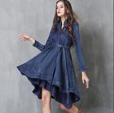 Womens Vintage Denim Boho Embroidered Long Sleeve Belt Flared Shirt Dress