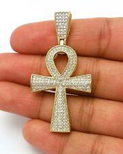 LAB SIMULATED DIAMOND 14K GOLD EGYPTIAN ANKH KEY OF LIFE CROSS PENDANT ONLY