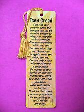 """""""Teen Creed"""" Poem on a Tassel Bookmark (maise tassel) Sku# 519)"""