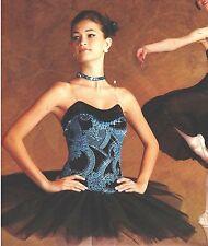 NWT Short Tutu ballet costume turqse Glittered Organdy Ch/Plus szs sequin choker
