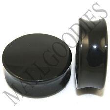 "0470 Double Flare Acrylic Black Earlets Saddle Ear Plugs 1-1/4"" Inch Plugs 32mm"