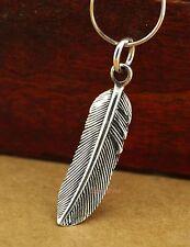 925 Sterling Silver Feather Pendant Biker Rocker Punk Men Women Gift A2407