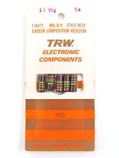 3.6 Ohm to 20M Ohm - 1W 5% - Carbon Comp Resistors - TRW / AB, etc. *NOS*