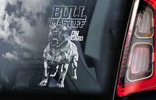 Bullmastiff on Board - Car Window Sticker - Bull Mastiff Dog Sign Decal - V02