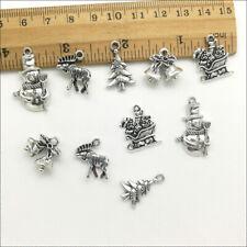 Lot XMAS Tree Snowman Elk Antique Silver Charms Pendants Jewelry DIY Findings