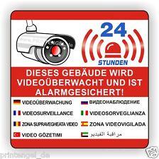 Adhesivo,Dieses Gebäude será Monitores de Video y es Sistema alarma ,90X90mmVA14