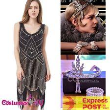 Ladies Deluxe 20s Roaring 1920s Black Flapper Costume Sequin Pearls Fancy Dress