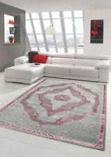 Designer und Moderner Teppich Kurzflor Orientteppich in Grau Silber Rosa