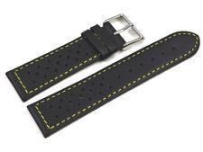 Bracelet de montre - cuir de veau perforé - noir, couture jaune 18,20,22 mm NEUF