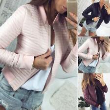 Women Jacket Tops Outwear Imitation Leather Coat Slim Fit Autumn Winter M-2XL