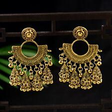 Women's Bohemia Gypsy Indian Exaggeration Trend Big Fan Carved Drop Earrings
