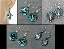 Turquoise Patina Color Western Cross Horseshoe Horse Hook Earrings- Choose Style
