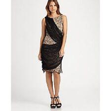 ALICE + OLIVIA Goddess Style Lace Sash Dress Silk Black Beige Sheath NWT 2 6