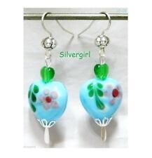 Hand Painted Glass Heart Dangle Earrings Lavender Red Aqua Blue Yellow Green