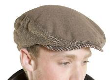 Mens Ladies Quality Melton Flat Cap Fashion Hat With Herringbone Tweed Panels