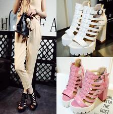 Womens High Heels Roman T strap Platform Open Toe Roman Sandals Summer Shoes 2-9