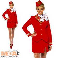 Air Hostess Ladies Fancy Dress Virgin Womens Cabin Crew Stewardess Adult Costume