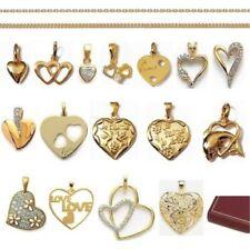 CIONDOLO CUORE AMANTE San Valentin in placcato oro + CATENA scelta Nuovo
