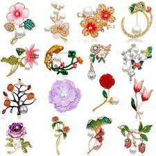 Bouquet Brooch Pin Jewelry Gift Fashion Rhinestone Crystal Flower Wedding Bridal