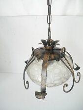 Lampadario sospensione in ferro con vetro attacco E27 per lampadine a risparmio