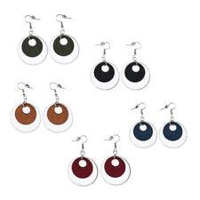 Blesiya Natural Saft Wood Hoop Earrings with Large Alloy Charm Hoop Dangle