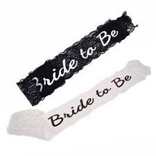 Black White Bride To Be Lace Sash Hen Night Bachelorette Party Wedding Shower ML