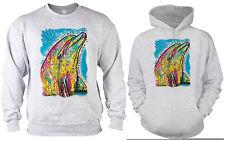 Delfin Sweater - Kapuzensweater - Delphin Motiv Pullover Neon Kunstdruck Delfin