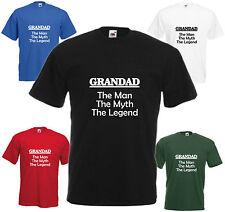 Grandad Man Myth Legend T Shirt Fathers Day Gift Xmas Present Birthday Funny Top