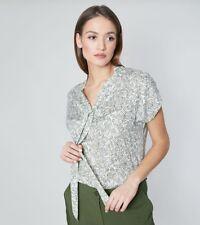 Leichte Sommerliche Bluse Top Shirt mit Schleife Kurzarm Hüftlang  Gr 42 44 46