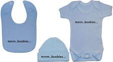 Boobies Baby Grow/Bodysuit/Romper/T-Shirt, Feeding Bib & Hat/Cap 0-12m Boy Girl