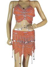 Orange Belly Dancer Costume Halter Bra Hip Scarf Handmade Dress Clothing M