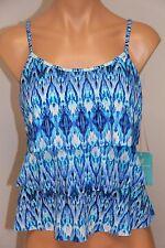NWT Caribbean Joe Swimsuit Tankini Bikini Top  Ruffles blue black