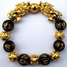 Feng Shui Black Obsidian Alloy Wealth Bracelet G2C7