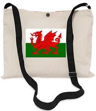 Welsh Flag Canvas Musette Bag 40x30cm, 150cm Long black adjustable strap